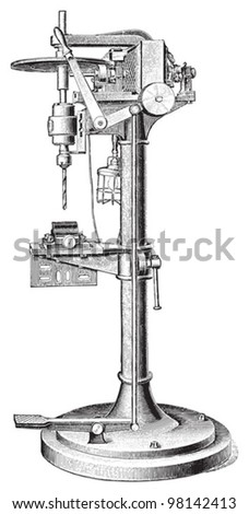 Old drilling machine / vintage illustration from Meyers Konversations-Lexikon 1897