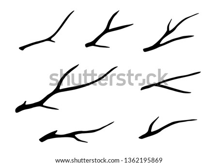 Old dry, bare tree branches set. Black silhouettes. Sketch hand drawn. Isolated on white background