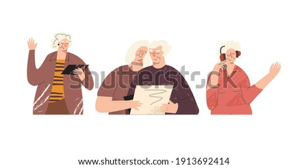 Old elderly happy senior adult with computer laptop devise. Silver generation surfers, baby boomers communication in virtual class. Active pensioner, self-sufficiency people trendy illustration Stock photo ©