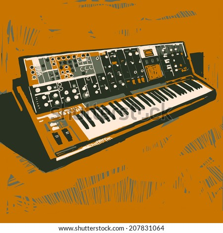 Old electronic synthesizer graphic illustration