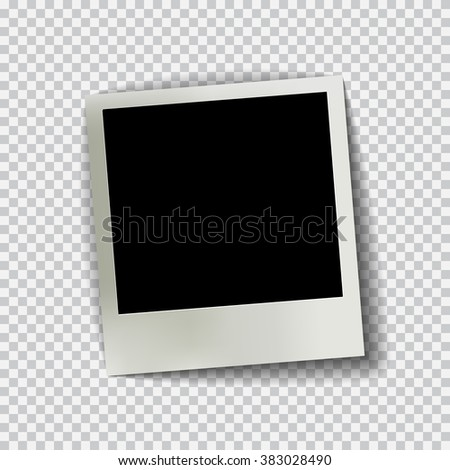 Old empty realistic photo frame with transparent shadow on plaid black white background. Photo border to family album. Make with gradient mesh tool. Vector illustration for your design and business. #383028490