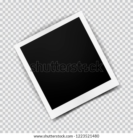 Old empty realistic photo frame with transparent shadow on plaid black white background. Polaroid border to family album. Make with gradient mesh tool. Vector illustration for your design and business #1223521480