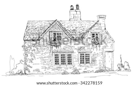 old english stone cottage