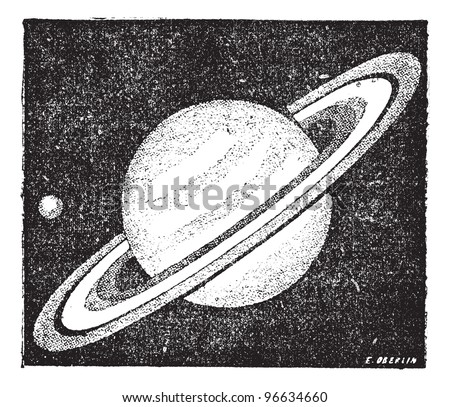 Old engraved illustration of comparison of the sizes of Saturn and Earth. Dictionary of words and things - Larive and Fleury - 1895