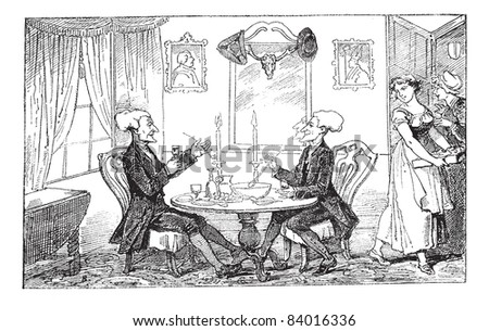 Old engraved illustration of Dr Syntax and his counterpart enjoying their drinks and food while two women looking at them, 1874.  Created  by Thomas Rowlandson. Le Magasin Pittoresque - 1874. Photo stock ©