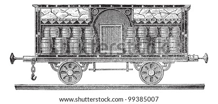 Old engraved illustration of iced beer barrels on wagon for transporting. Industrial encyclopedia E.-O. Lami - 1875.