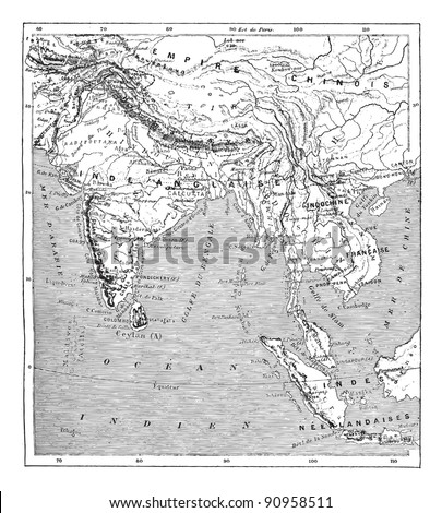 Old engraved illustration of map of India and Indochina. Dictionary of words and things - Larive and Fleury - 1895