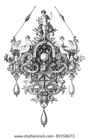 Old engraved illustration of Pendant of Benvenuto Cellini from the Cabinet des Medailles, National Library, France, isolated on a white background.  Industrial encyclopedia E.-O. Lami - 1875. Foto stock ©