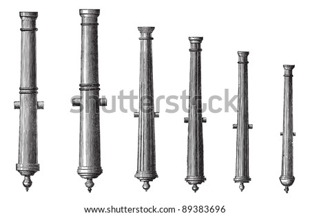 Old engraved illustration of six different types of cannon isolated on a white background. Industrial encyclopedia E.-O. Lami - 1875.