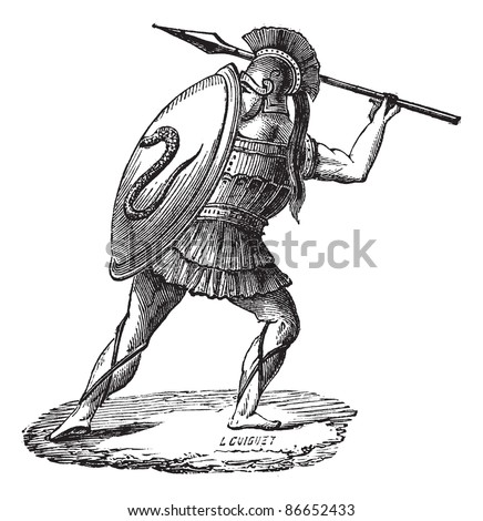 Old engraved illustration of the Greek soldier with his armor. Industrial encyclopedia E.-O. Lami 1875.