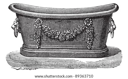Old engraved illustration of zinc bathtub. Industrial encyclopedia E.-O. Lami - 1875.