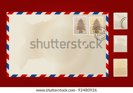 Old envelope and stamp set. Vector Illustration.