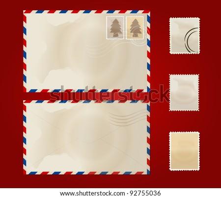 Old envelope and stamp set. Vector Illustration.