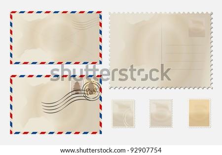 Old envelope, stamp set and postcard. Vector Illustration.