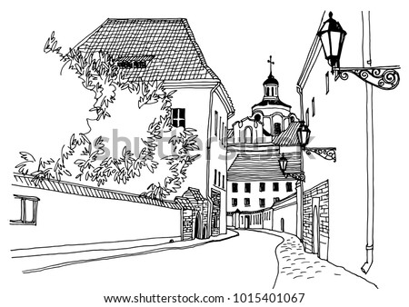 old european city street with...