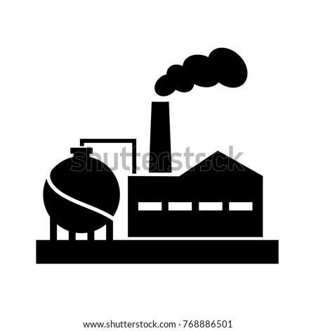 Old factory vector silhouette pictogram on white background