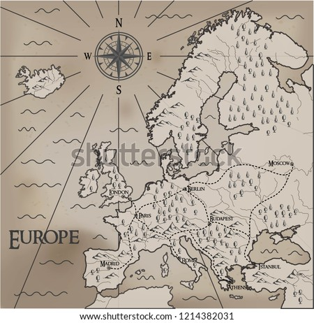 Old, fantasy themed Europe vector map. #1214382031