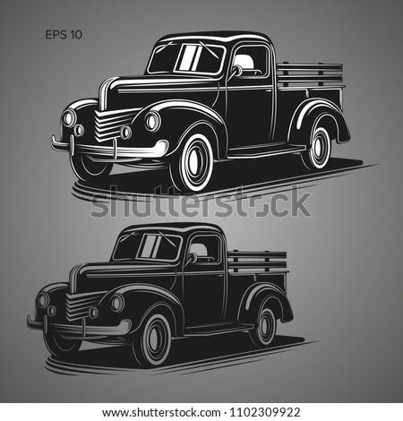 Old farmer pickup truck vector illustration icon. Vintage transport vehicle