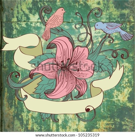 old fashion background with flower, birds and ribbon for design, vector illustration