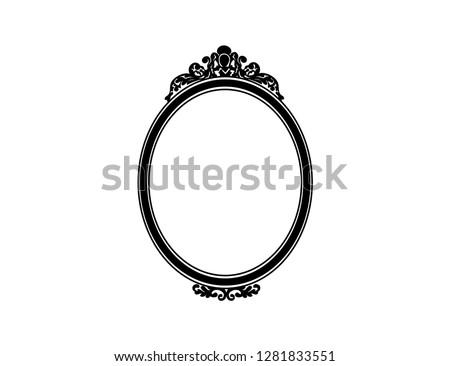 old fashion black mirror frame, vector