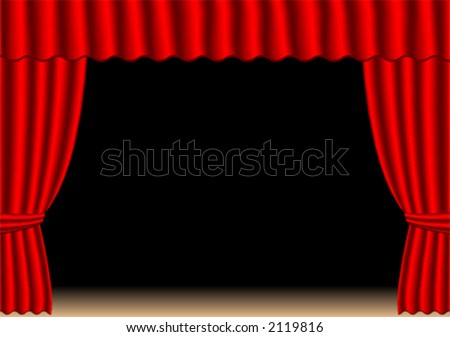 Old fashion theater curtains over stage and black background