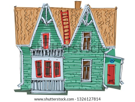 Old fashionable housel hotel. Vintage facade of cute cottage. Cartoon