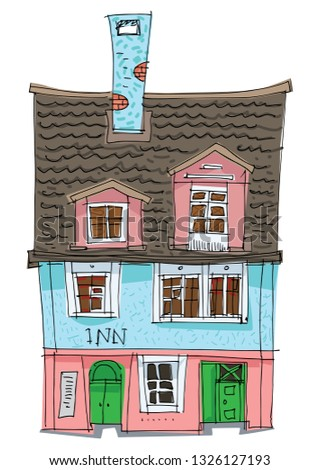 Old fashionable rural hotel. Vintage facade of cute inn. Cartoon