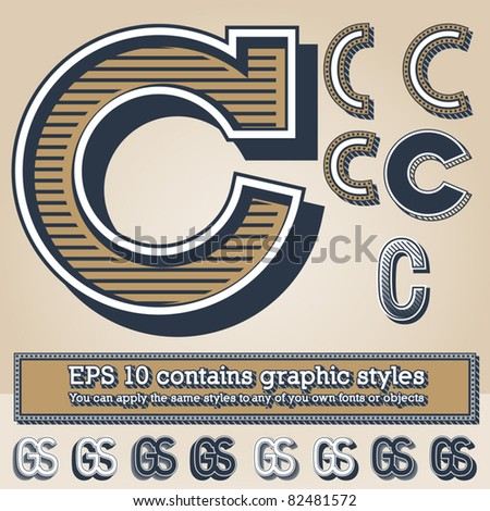 Old fashioned alphabet. Letter c. File contains graphic styles available in the Illustrator 10 + You can apply the styles to any of you own fonts or objects