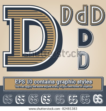 Old fashioned alphabet. Letter d. File contains graphic styles available in the Illustrator 10 + You can apply the styles to any of you own fonts or objects