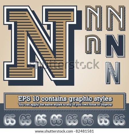 Old fashioned alphabet. Letter n. File contains graphic styles available in the Illustrator 10 + You can apply the styles to any of you own fonts or objects