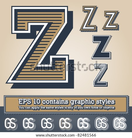 Old fashioned alphabet. Letter z. File contains graphic styles available in the Illustrator 10 + You can apply the styles to any of you own fonts or objects