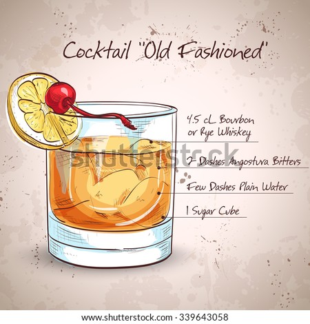 Old fashioned cocktail, consisting of Bourbon, Angostura Bitter, sugar cubes, a few drops of water, ice cubes, orange, maraschino cherry
