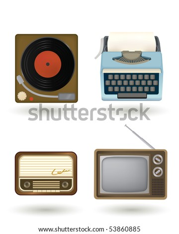 old-fashioned electronics in vintage and retro style