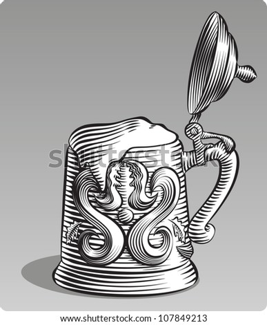 Old fashioned etched style illustration of an old fashioned beer stein with its lid open and filled with beer. In black and white.