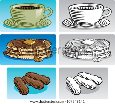 Old fashioned etched style illustration of various breakfast foods. Includes coffee, a stack of pancakes with maple syrup, and sausage links. In color and black and white. - stock vector