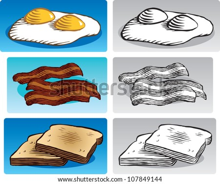 Old fashioned etched style illustration of various breakfast foods. Includes eggs sunny side up, fried bacon, and toast. In color and black and white.