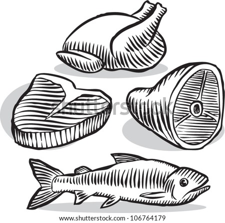 Old fashioned etched style illustration of various common meat products in black and white, isolated on white.