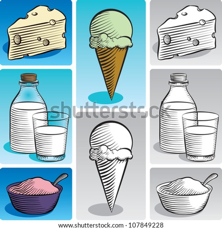 Old fashioned etched style illustration of various dairy products. Includes swiss cheese, milk, yogurt, and ice cream. In color and black and white.