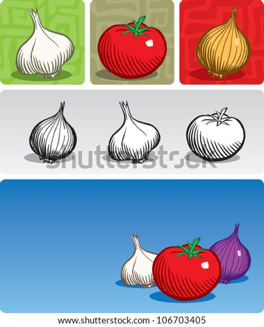 Old fashioned etched style illustration of vegetables commonly used in Italian cuisine (garlic, tomato, and onion). Vegetables are presented individually, in a composition, in black/white, and color.