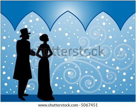 old fashioned gentleman and lady walking in snow vector - stock vector
