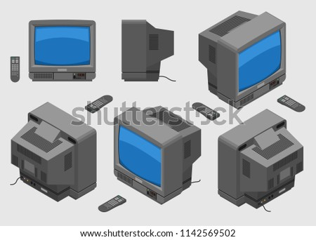 Old Television Set Vector - Download Free Vector Art, Stock