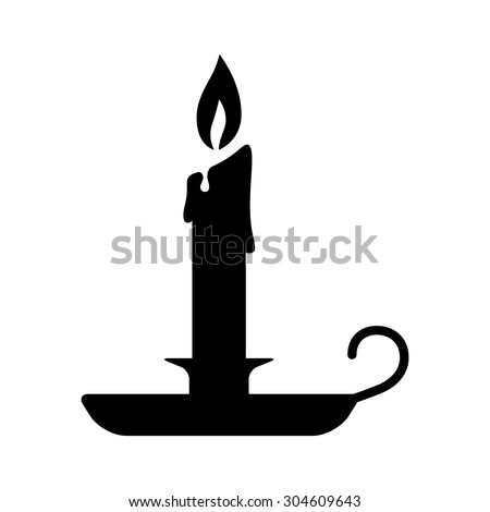 Old fashioned lit candle / candlestick on holder flat vector icon for apps and websites