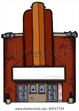 Old-fashioned or retro art deco style movie theatre with blank marquee