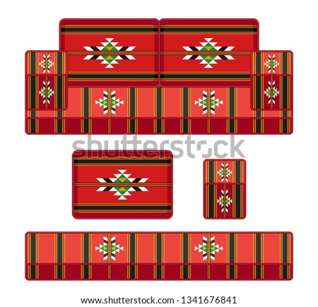 old fashioned traditional heritage sofa  in Arab gulf countries ( United Arab Emirates UAE  Saudi Arabia ksa  Bahrain  Kuwait Qatar and Oman )  Ramadan kareem isolated vector
