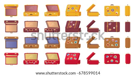 Old-fashioned vintage suitcases with travel-themed stickers from all sides view isolated vector illustrations set on white background.