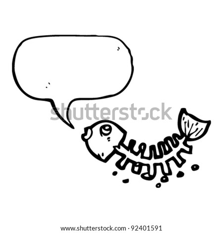 old fish bones with speech bubble cartoon