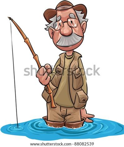 Old Fisherman Cartoon