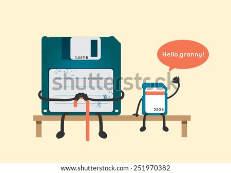 old floppy disk and new sd card greeting illustration vector