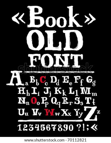 Old font uppercase+lowercase+numbers