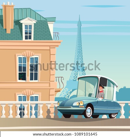 old french car on paris streets ...